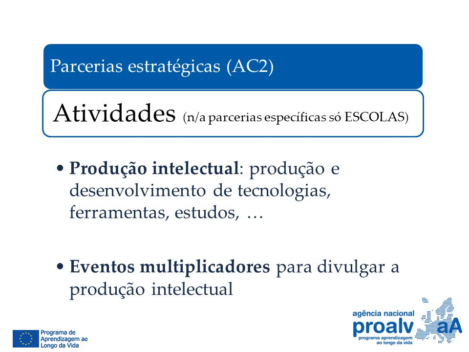 Atividades (n/a parcerias específicas só ESCOLAS)
