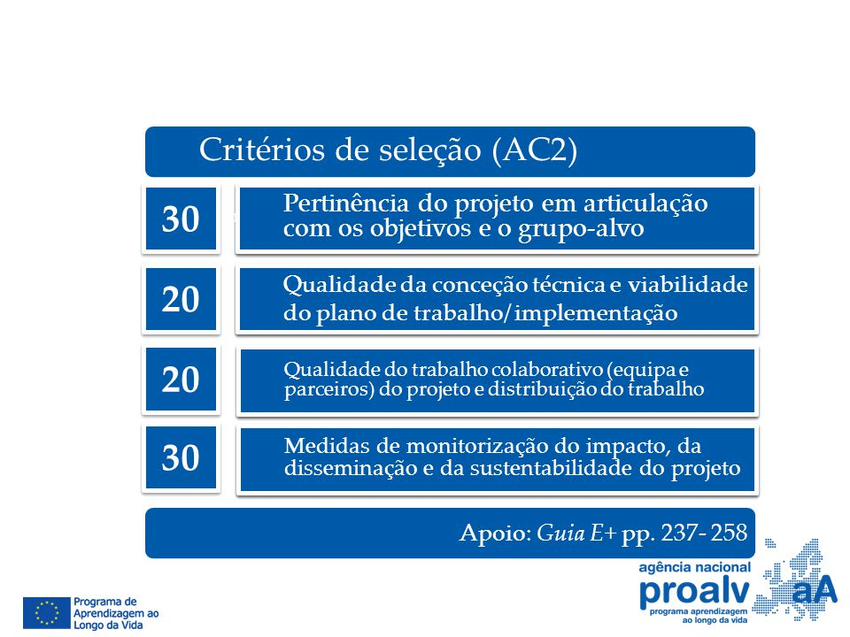 30 20 20 30 Critérios de seleção (AC2)