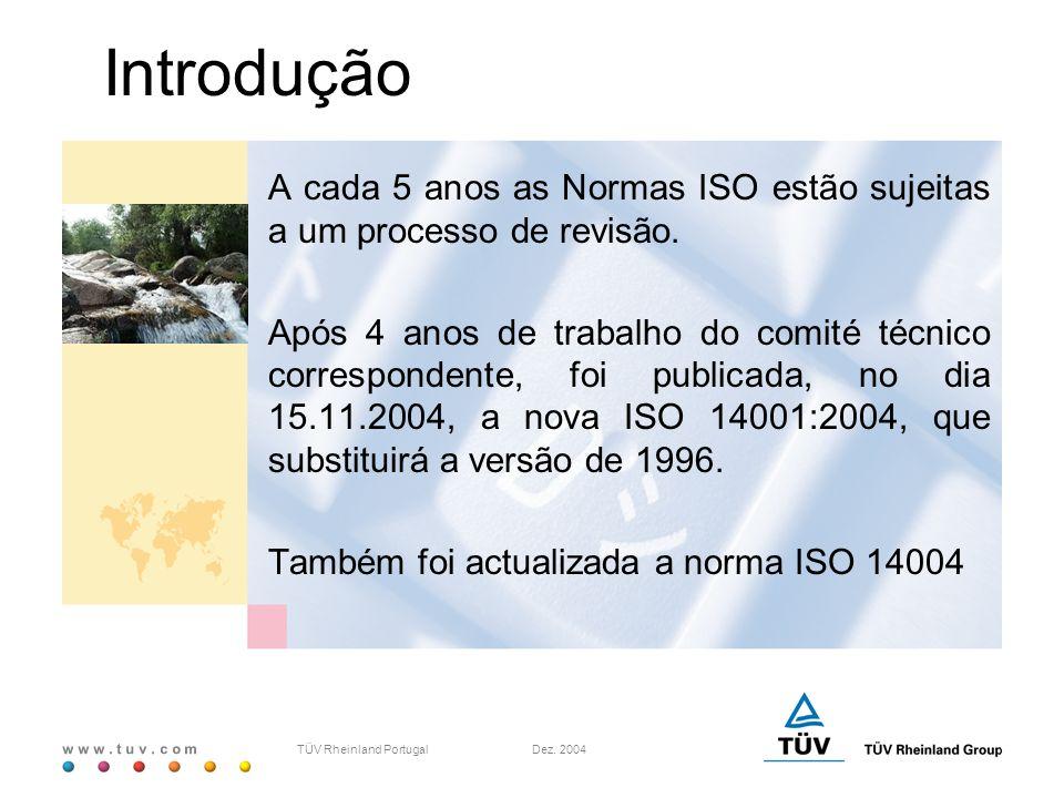 Introdução A cada 5 anos as Normas ISO estão sujeitas a um processo de revisão.