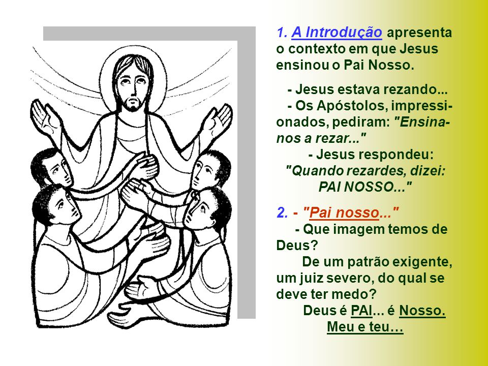1. A Introdução apresenta o contexto em que Jesus ensinou o Pai Nosso.