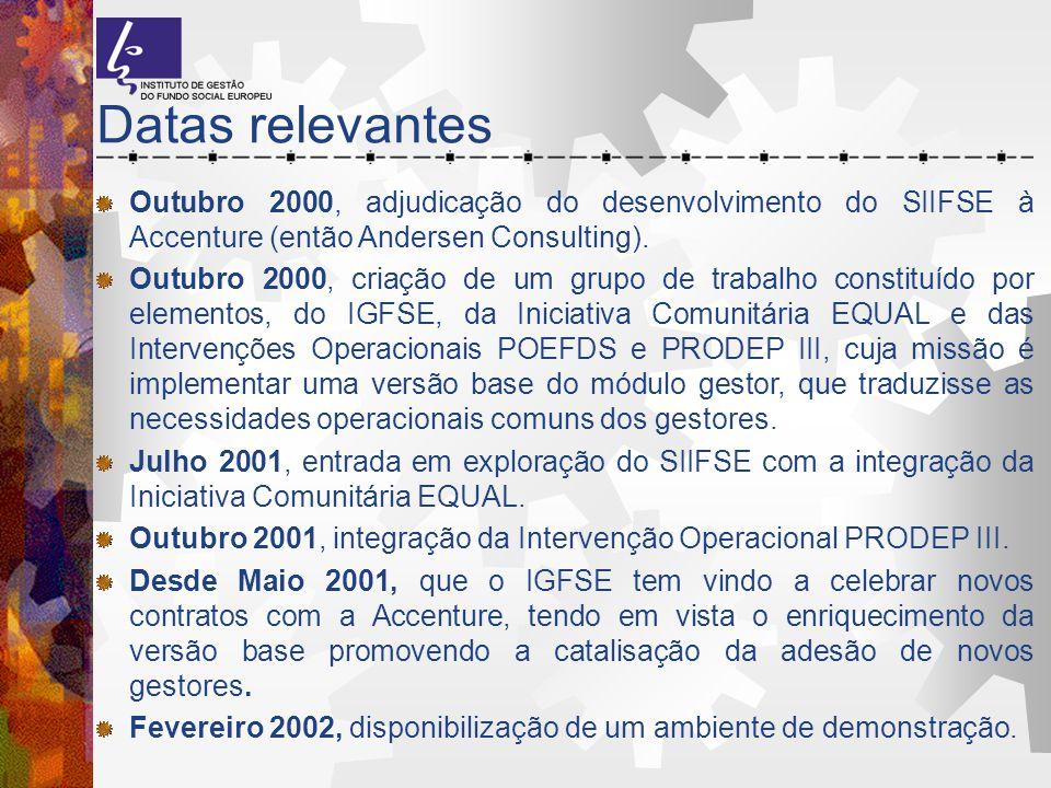 Datas relevantes Outubro 2000, adjudicação do desenvolvimento do SIIFSE à Accenture (então Andersen Consulting).