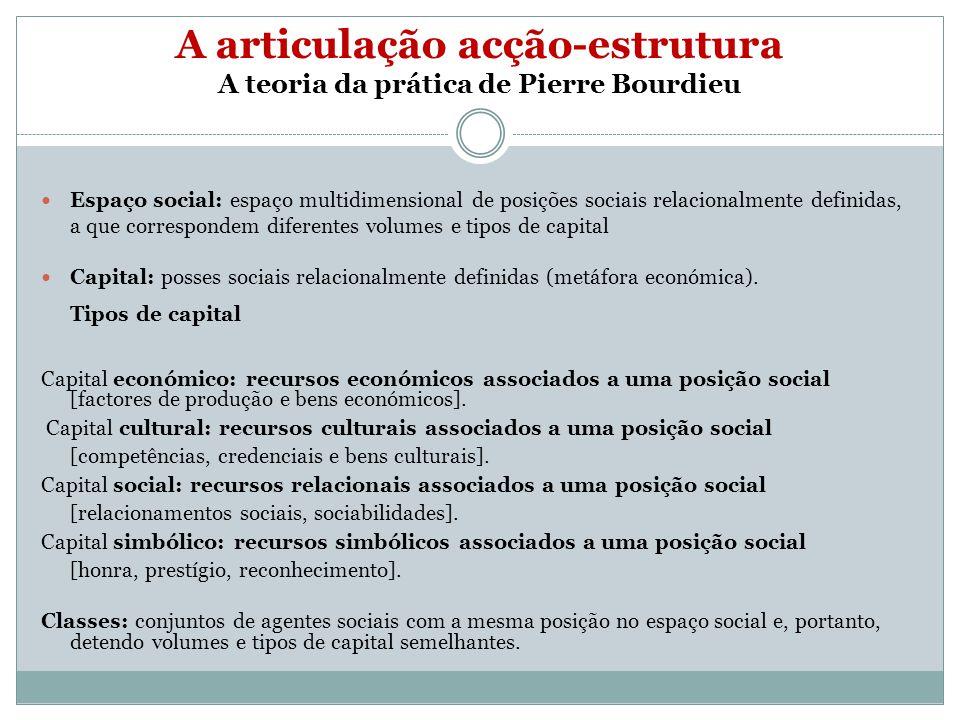 A articulação acção-estrutura A teoria da prática de Pierre Bourdieu