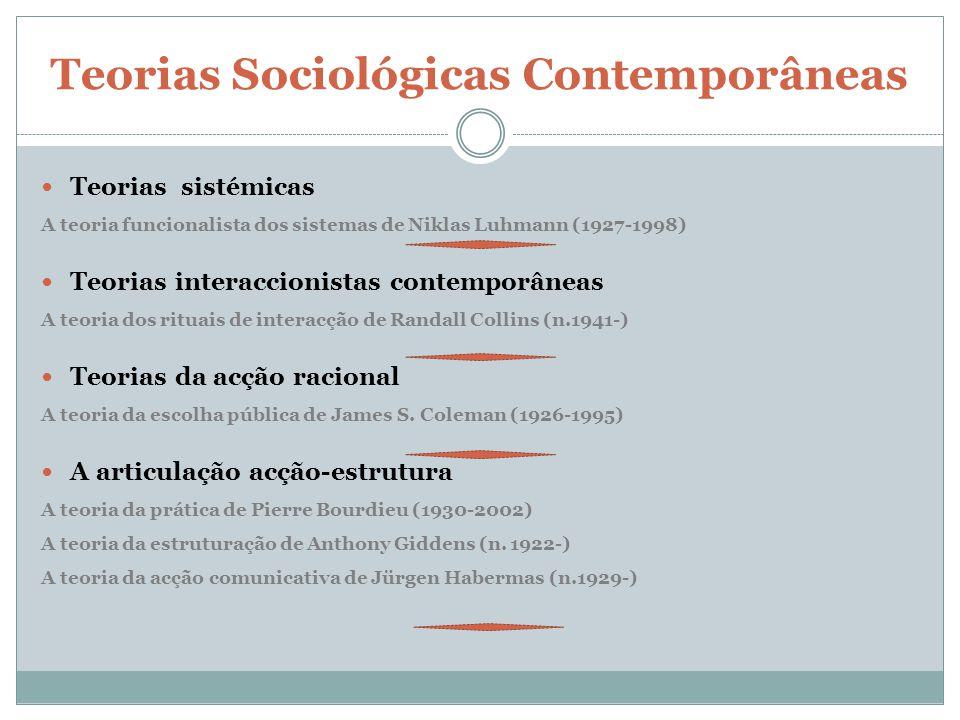Teorias Sociológicas Contemporâneas