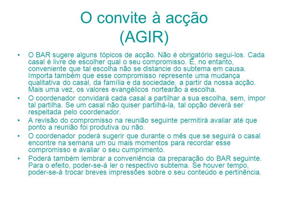 O convite à acção (AGIR)