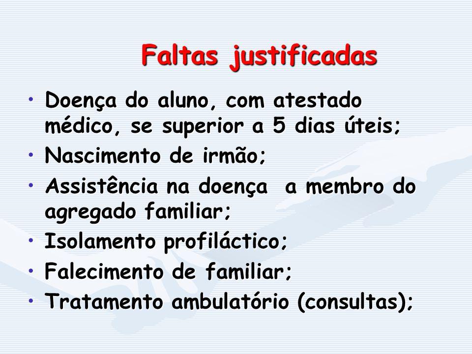 Faltas justificadas Doença do aluno, com atestado médico, se superior a 5 dias úteis; Nascimento de irmão;