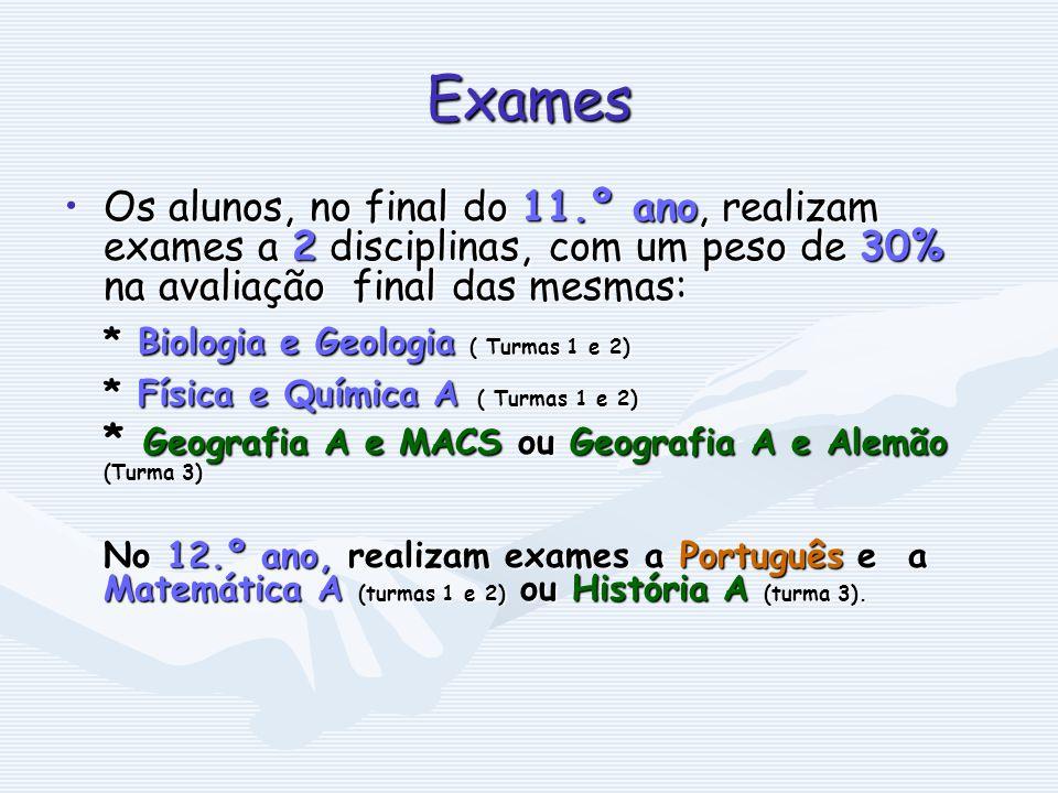 Exames * Biologia e Geologia ( Turmas 1 e 2)