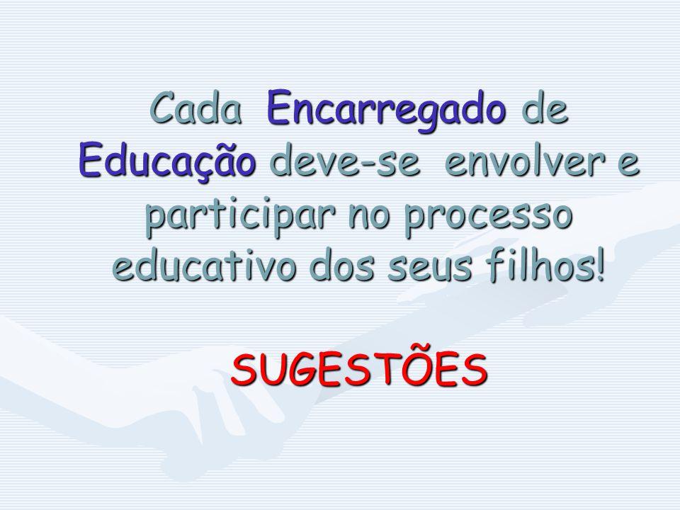 Cada Encarregado de Educação deve-se envolver e participar no processo educativo dos seus filhos.