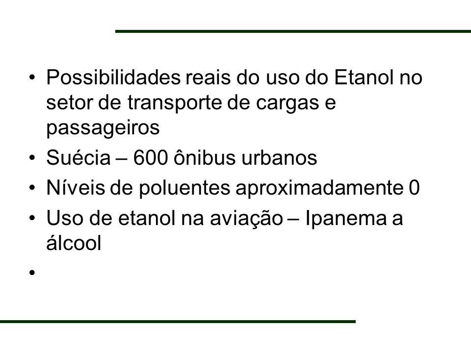 Possibilidades reais do uso do Etanol no setor de transporte de cargas e passageiros