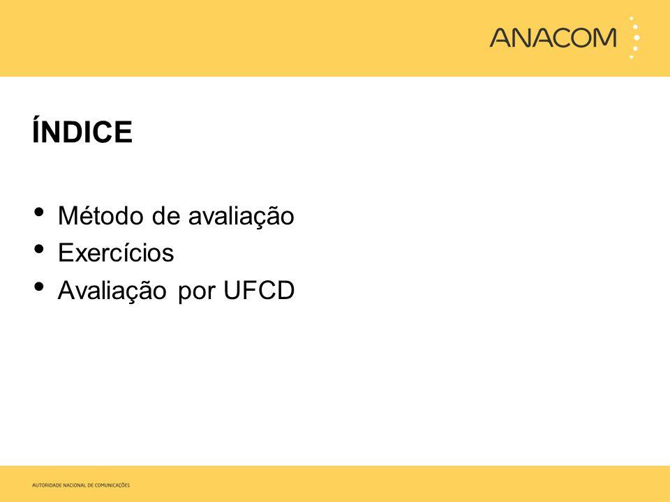 Método de avaliação Exercícios Avaliação por UFCD