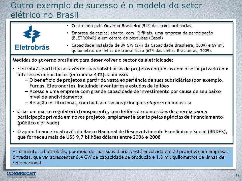 Outro exemplo de sucesso é o modelo do setor elétrico no Brasil