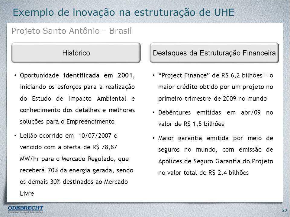 Exemplo de inovação na estruturação de UHE