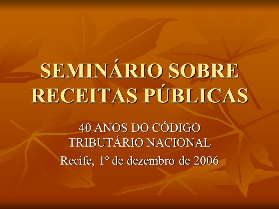 SEMINÁRIO SOBRE RECEITAS PÚBLICAS