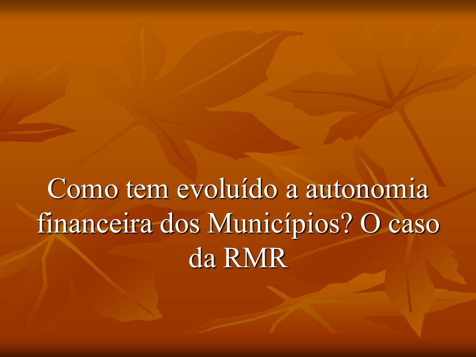 Como tem evoluído a autonomia financeira dos Municípios O caso da RMR
