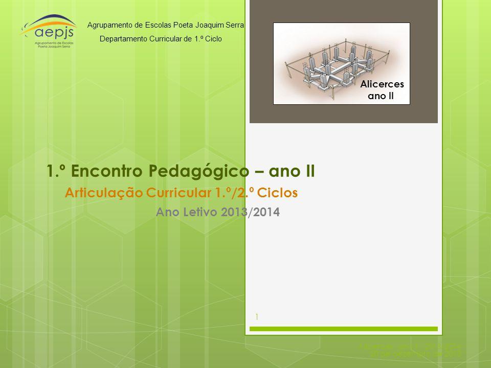 1.º Encontro Pedagógico – ano II Articulação Curricular 1.º/2.º Ciclos