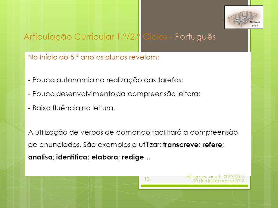 Articulação Curricular 1.º/2.º Ciclos - Português
