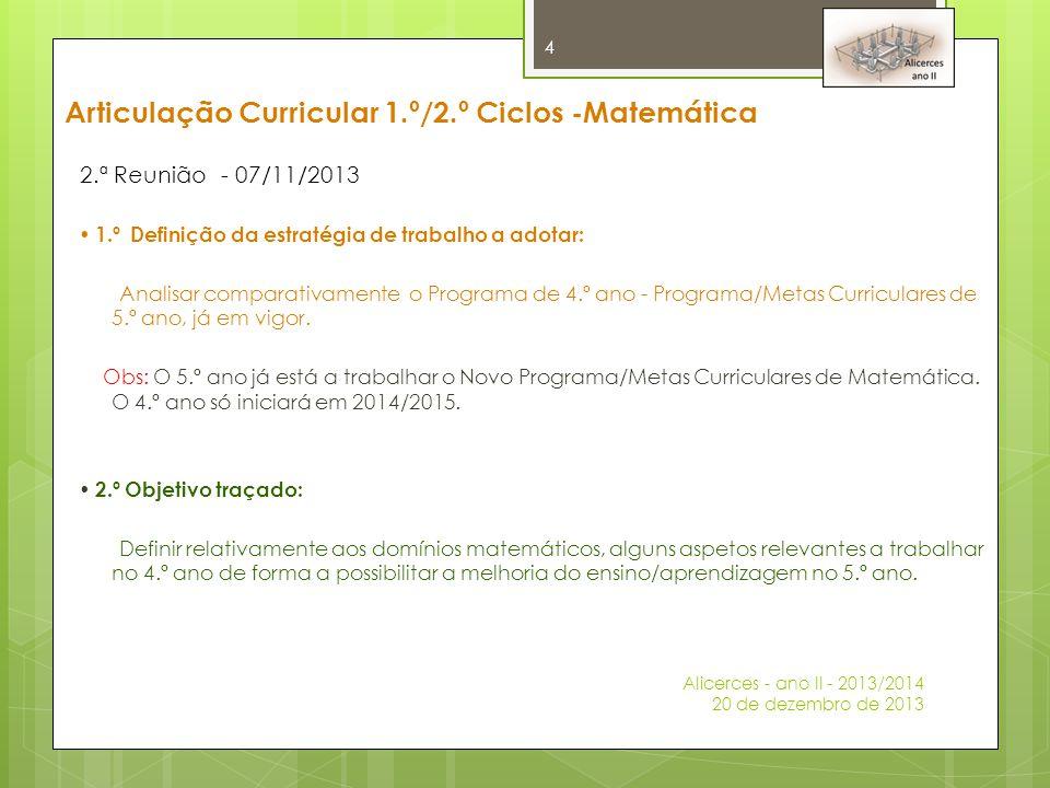 Articulação Curricular 1.º/2.º Ciclos -Matemática