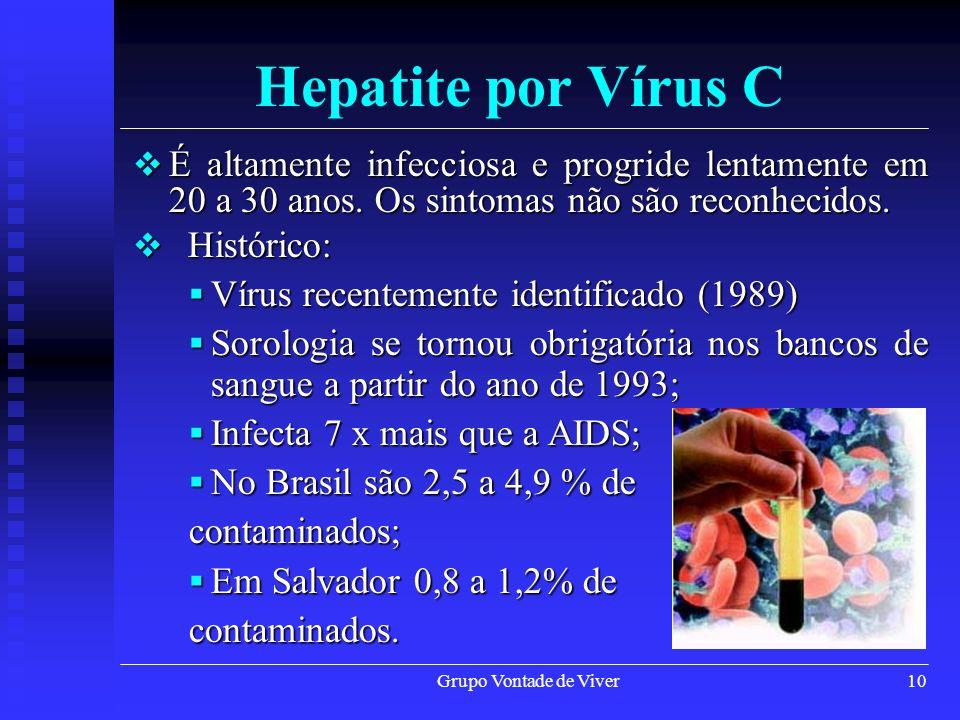Hepatite por Vírus C É altamente infecciosa e progride lentamente em 20 a 30 anos. Os sintomas não são reconhecidos.
