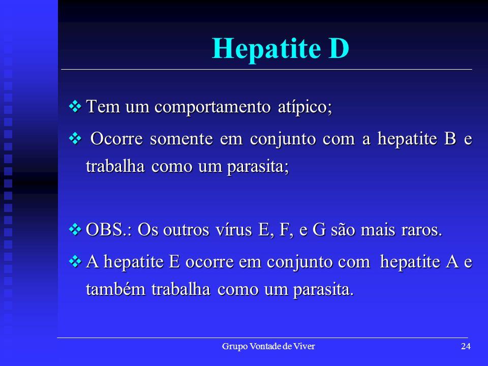 Hepatite D Tem um comportamento atípico;