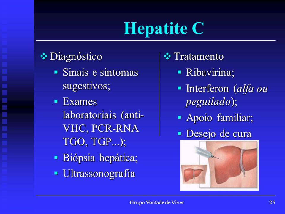 Hepatite C Diagnóstico Sinais e sintomas sugestivos;