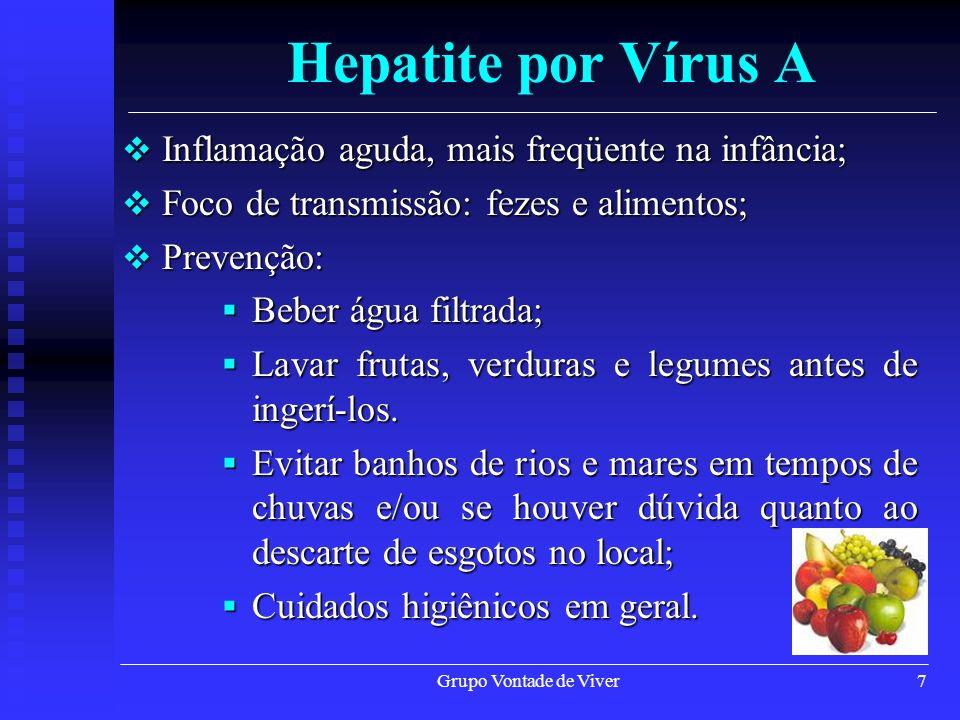 Hepatite por Vírus A Inflamação aguda, mais freqüente na infância;