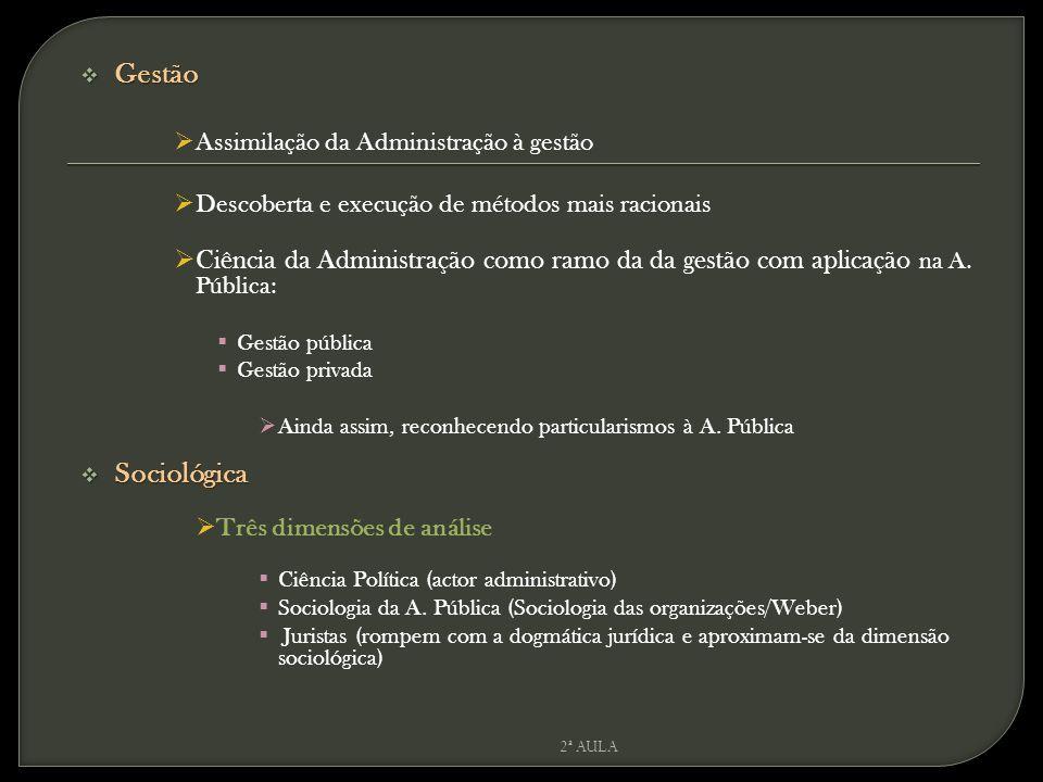 Gestão Assimilação da Administração à gestão. Descoberta e execução de métodos mais racionais.