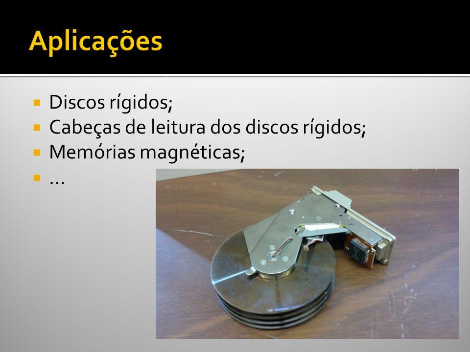Aplicações Discos rígidos; Cabeças de leitura dos discos rígidos;