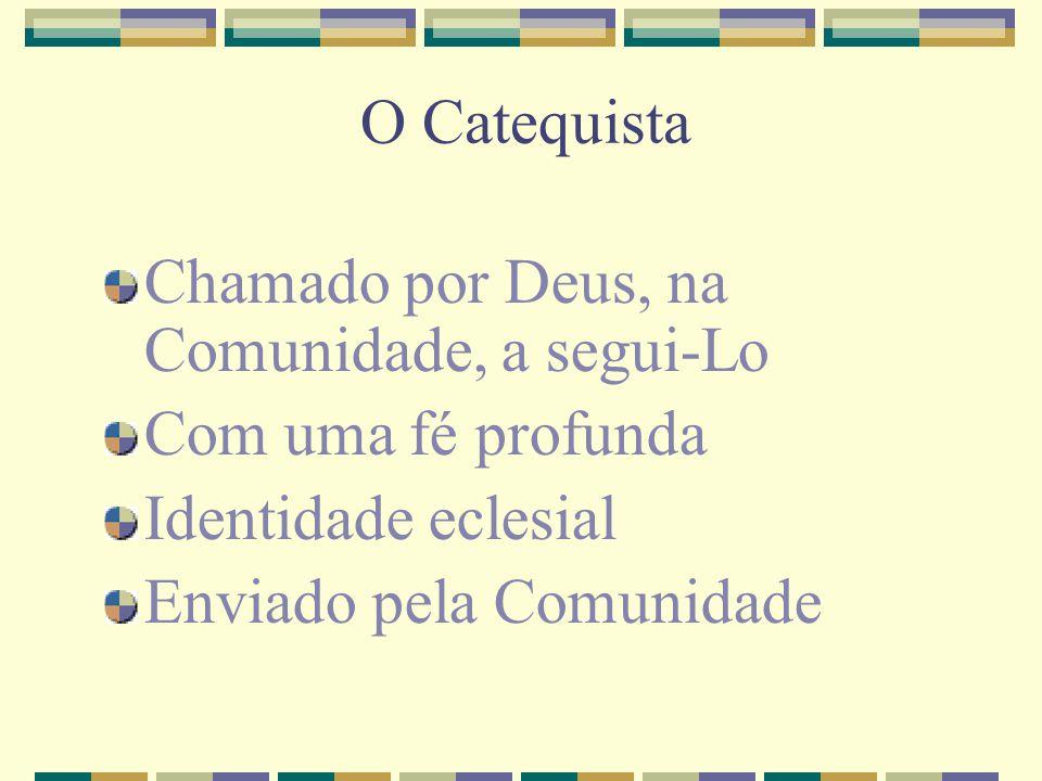 O Catequista Chamado por Deus, na Comunidade, a segui-Lo. Com uma fé profunda. Identidade eclesial.
