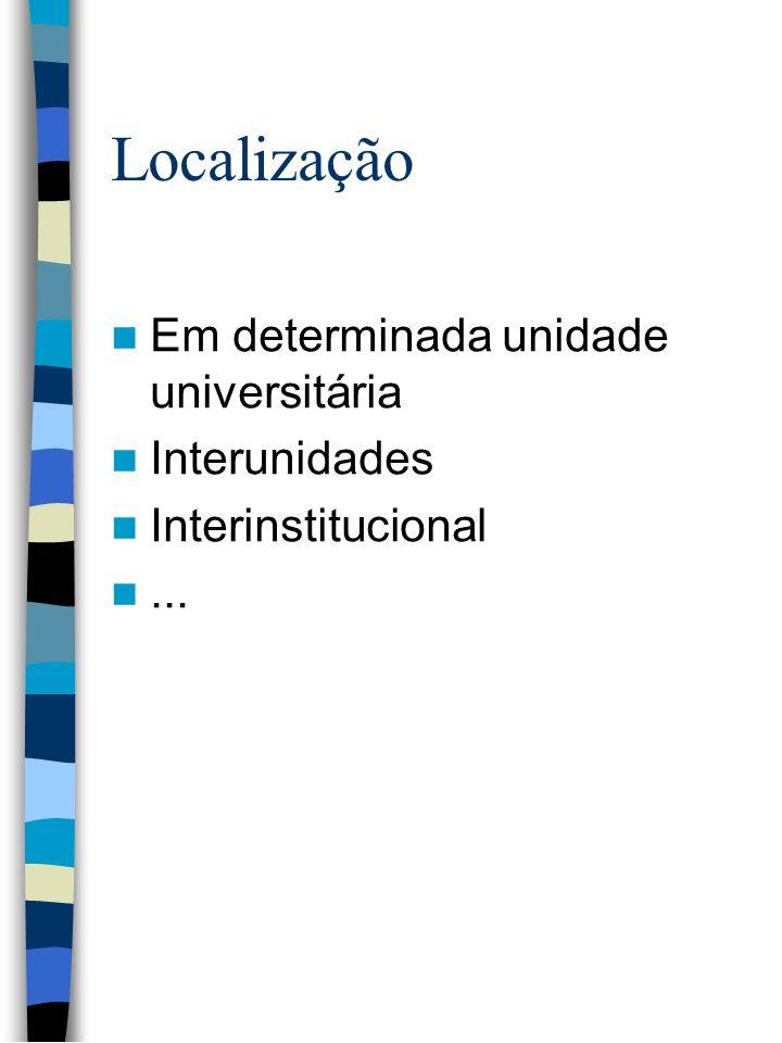 Localização Em determinada unidade universitária Interunidades