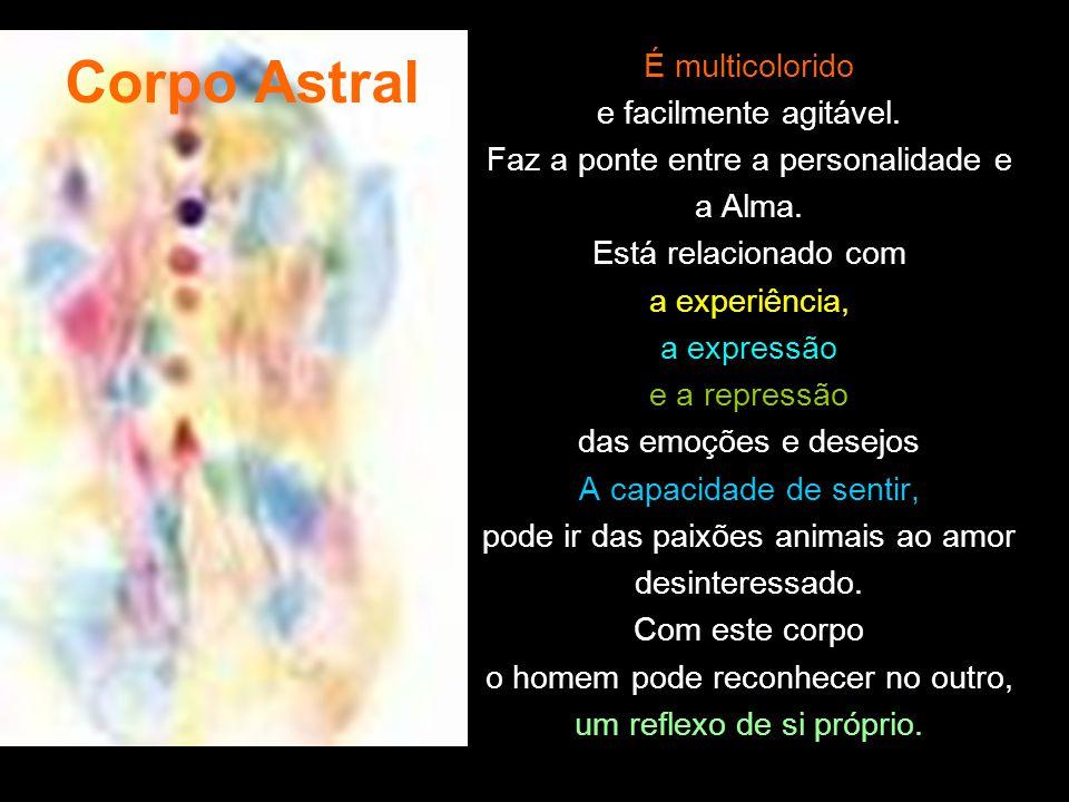 Corpo Astral É multicolorido e facilmente agitável.