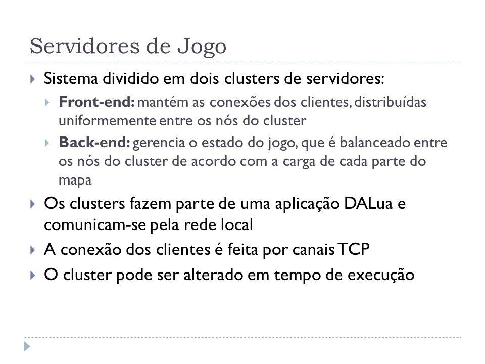 Servidores de Jogo Sistema dividido em dois clusters de servidores: