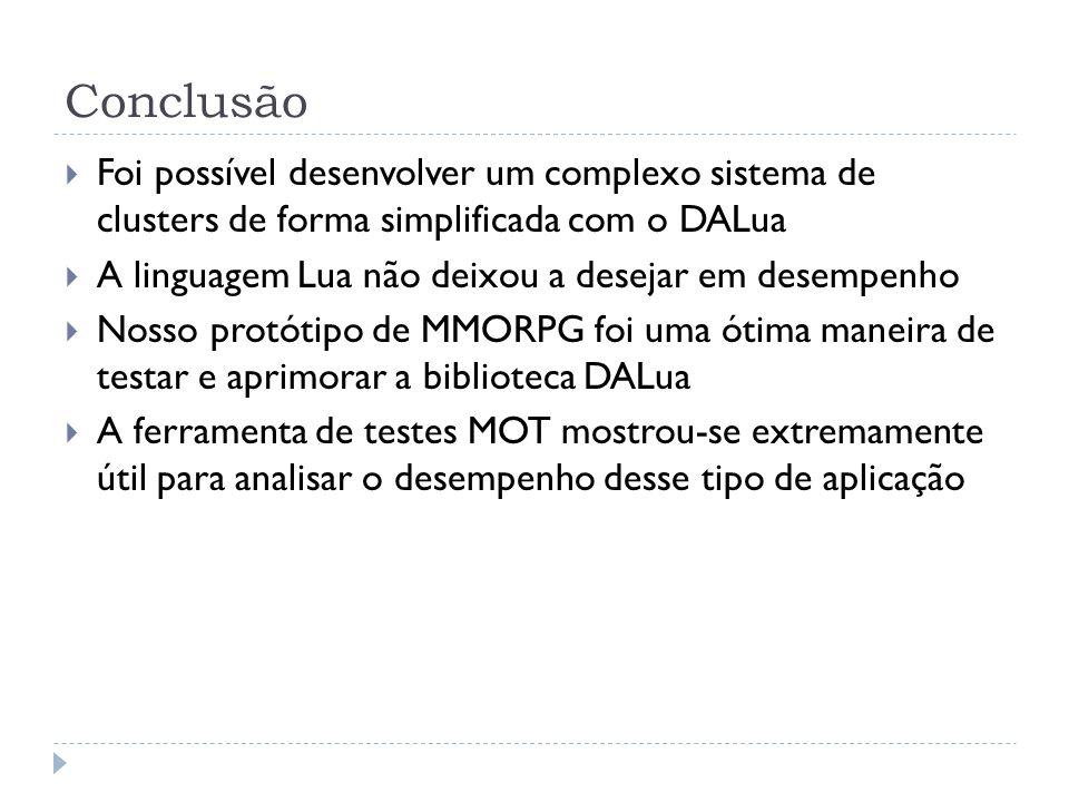 ConclusãoFoi possível desenvolver um complexo sistema de clusters de forma simplificada com o DALua.