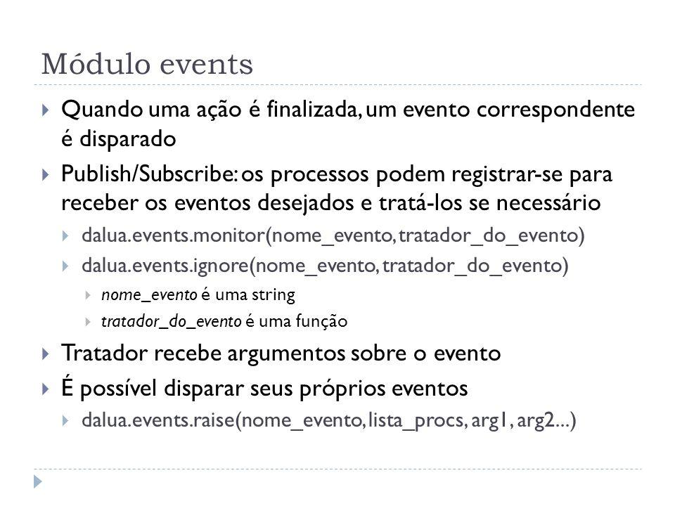 Módulo eventsQuando uma ação é finalizada, um evento correspondente é disparado.