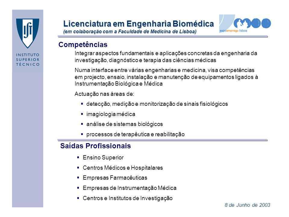 Licenciatura em Engenharia Biomédica (em colaboração com a Faculdade de Medicina de Lisboa)