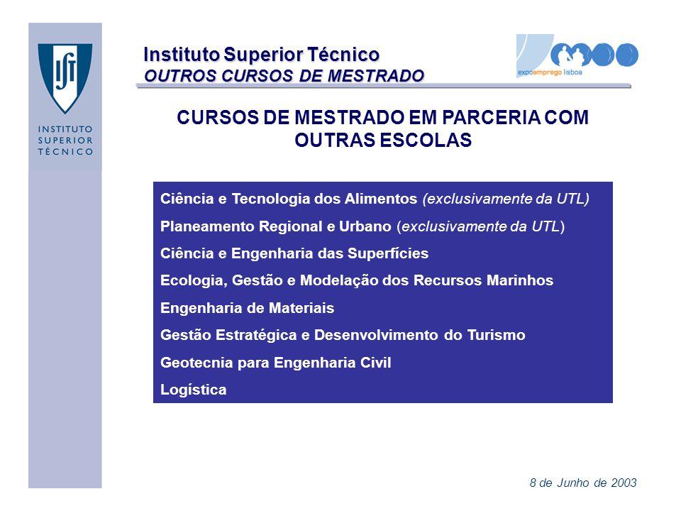 Instituto Superior Técnico OUTROS CURSOS DE MESTRADO