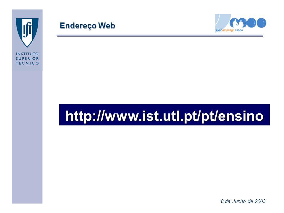 Endereço Web http://www.ist.utl.pt/pt/ensino 8 de Junho de 2003
