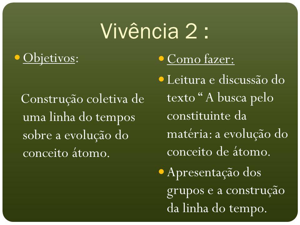 Vivência 2 : Objetivos: Como fazer: