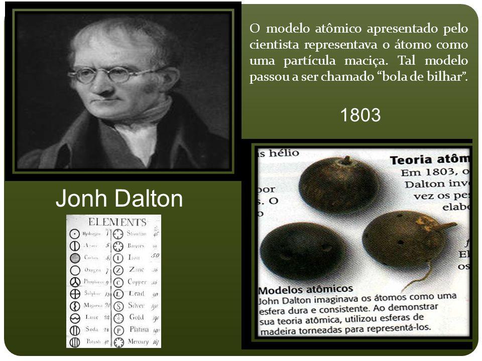 O modelo atômico apresentado pelo cientista representava o átomo como uma partícula maciça. Tal modelo passou a ser chamado bola de bilhar .