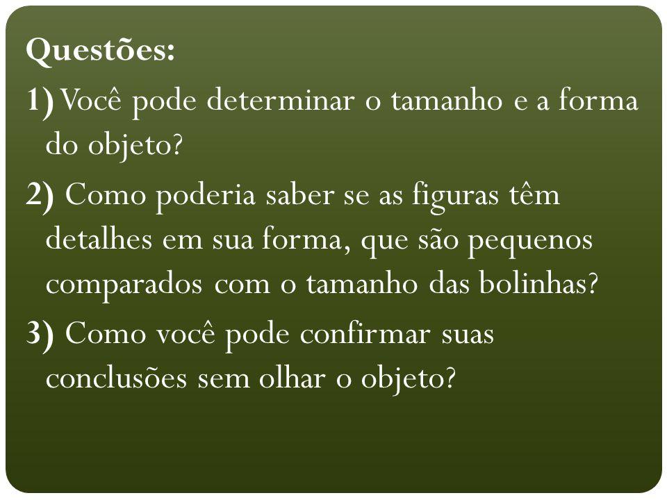 Questões: 1) Você pode determinar o tamanho e a forma do objeto