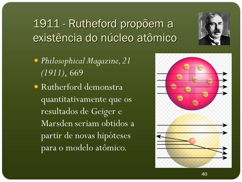 1911 - Rutheford propõem a existência do núcleo atômico