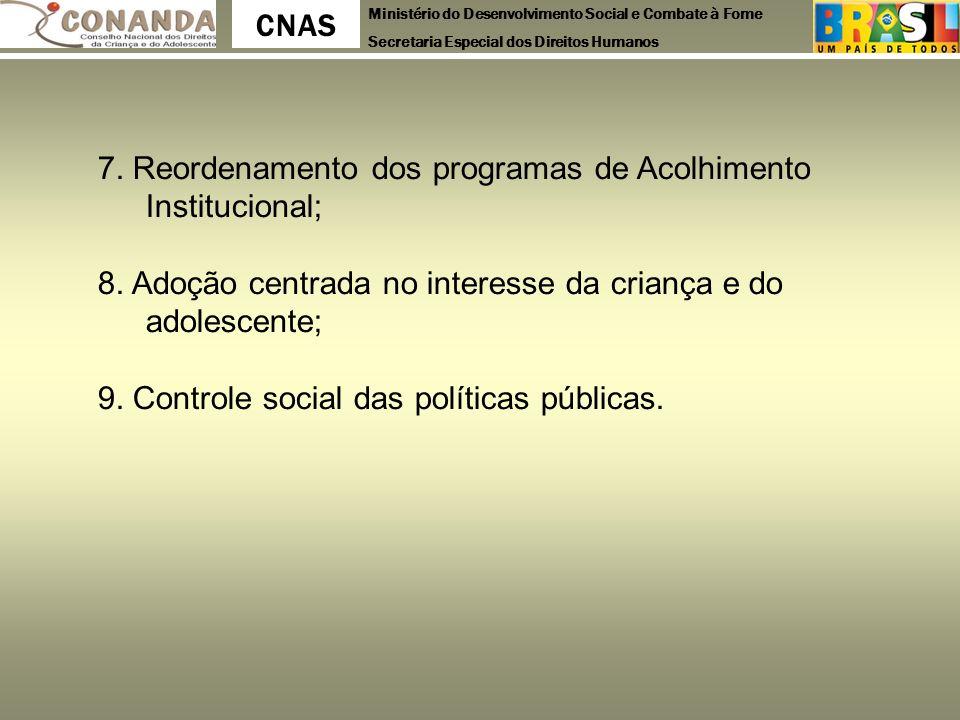 7. Reordenamento dos programas de Acolhimento Institucional;