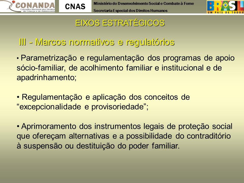 III - Marcos normativos e regulatórios