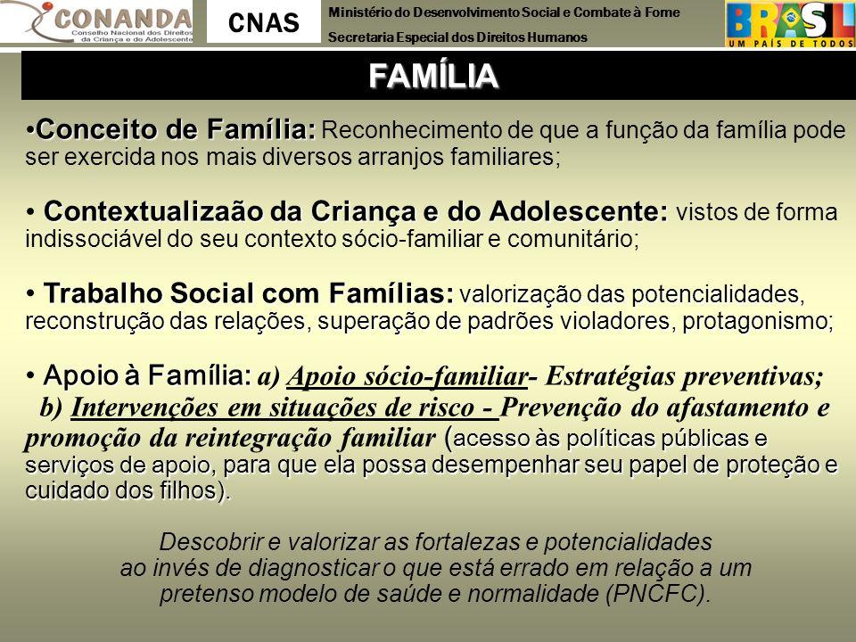 FAMÍLIA Conceito de Família: Reconhecimento de que a função da família pode ser exercida nos mais diversos arranjos familiares;