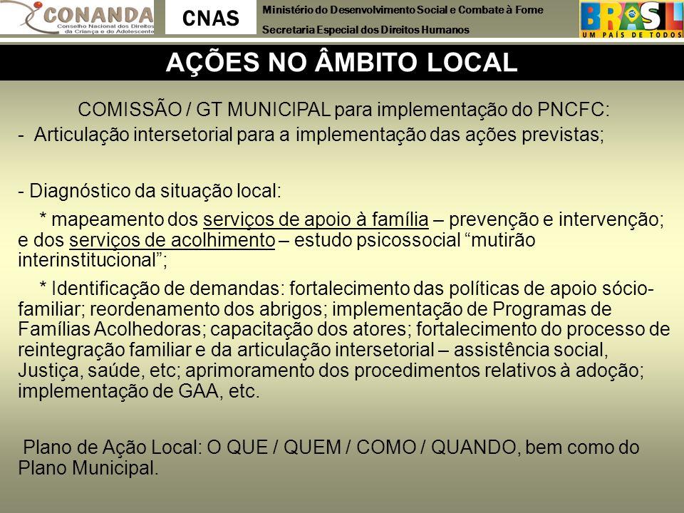 COMISSÃO / GT MUNICIPAL para implementação do PNCFC: