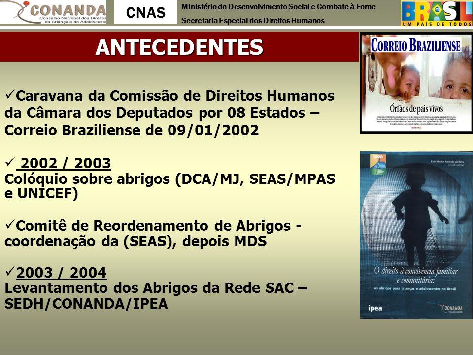 ANTECEDENTES Caravana da Comissão de Direitos Humanos da Câmara dos Deputados por 08 Estados – Correio Braziliense de 09/01/2002.