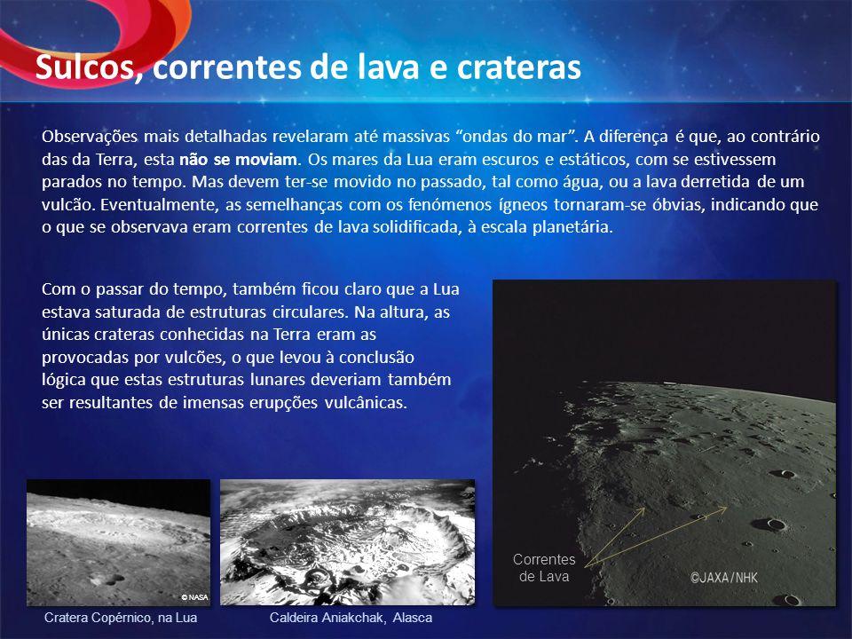Sulcos, correntes de lava e crateras
