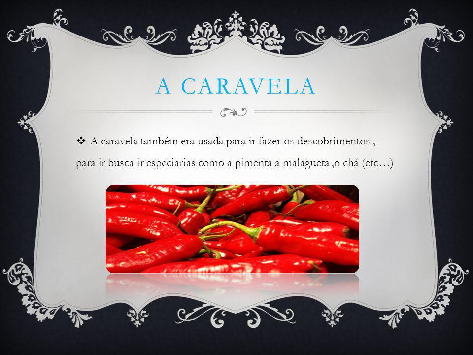 A caravela A caravela também era usada para ir fazer os descobrimentos , para ir busca ir especiarias como a pimenta a malagueta ,o chá (etc…)