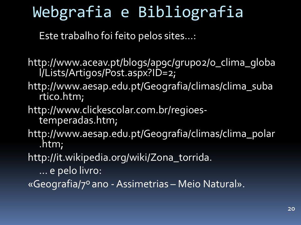 Webgrafia e Bibliografia