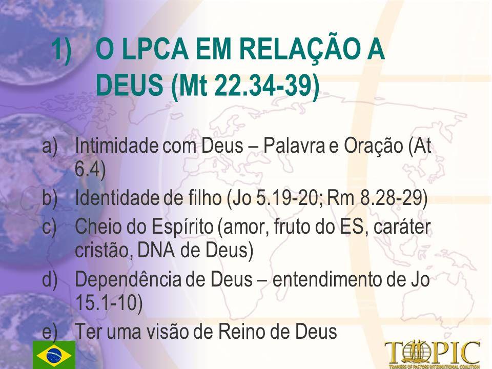 O LPCA EM RELAÇÃO A DEUS (Mt 22.34-39)