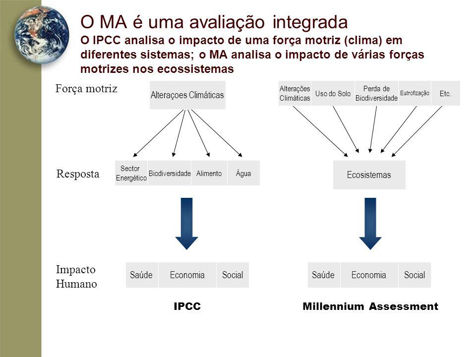 O MA é uma avaliação integrada O IPCC analisa o impacto de uma força motriz (clima) em diferentes sistemas; o MA analisa o impacto de várias forças motrizes nos ecossistemas
