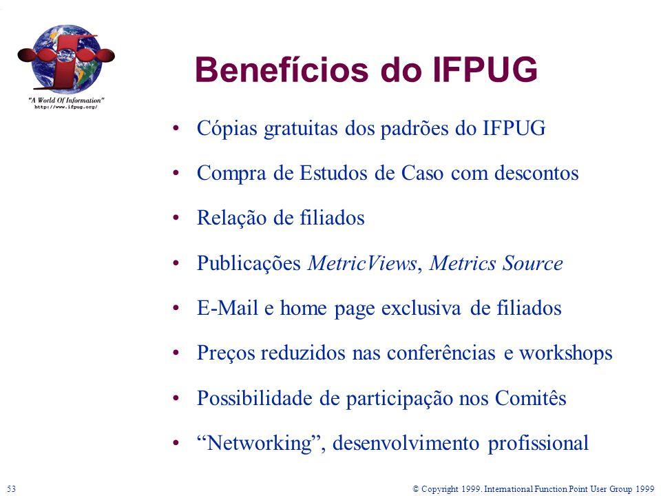 Benefícios do IFPUG Cópias gratuitas dos padrões do IFPUG
